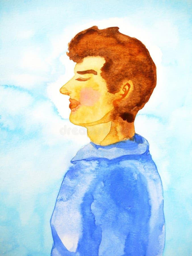 Stillhet kopplar av mannen för det mänskliga huvudet för sidan i vattenfärgmålning för blå himmel royaltyfri bild