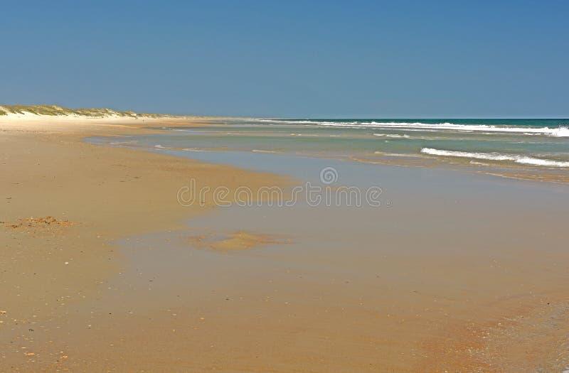 Stillhet Sandy Beach på en barriärö arkivbilder