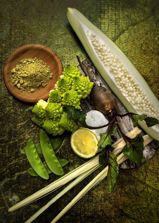 Stillife with green papaya. Stillife with fresh green papaya royalty free stock image