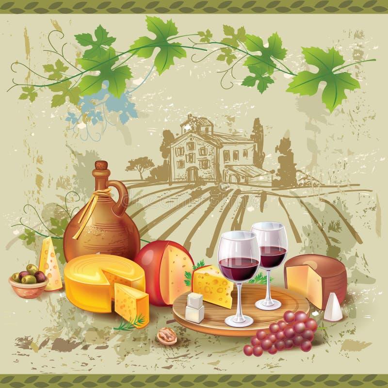Stillleben des Weins, des Käses und der Trauben stock abbildung