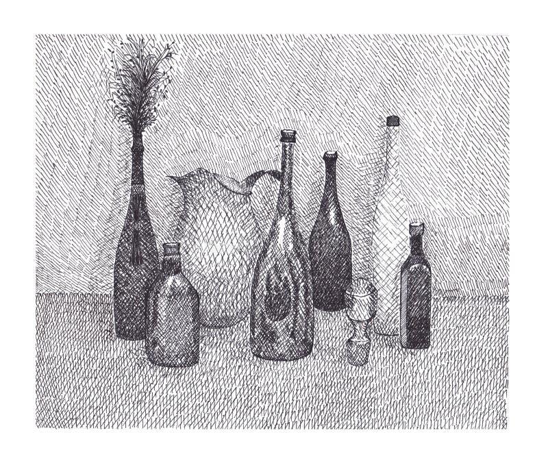 Stillleben mit einer Flasche und einem Blumenstrauß stockfoto