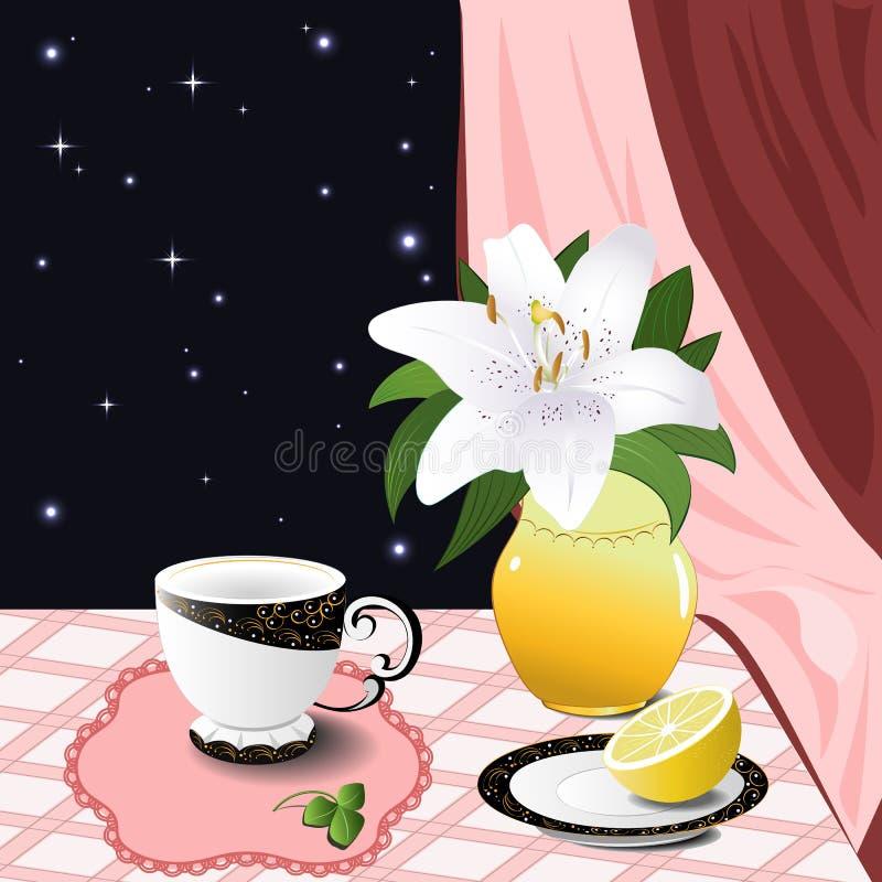 Stillleben mit einer Lilie und einer Zitrone stockbilder