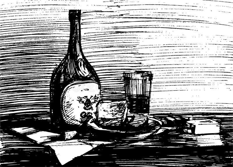Stillleben mit einer Weinflasche lizenzfreie abbildung