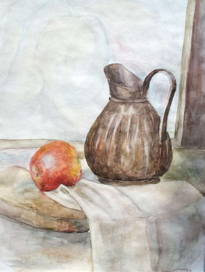 Stillleben mit Frucht und Vase, Aquarell vektor abbildung