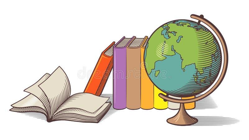 Stillleben mit Kugel und Büchern Farbige vektorabbildung stock abbildung