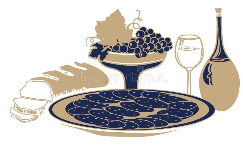 Stillleben mit Lebensmittel und Getränk lizenzfreie abbildung