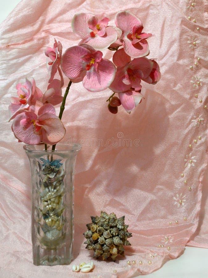 Stillleben mit Orchidee und Drapierung stockfoto