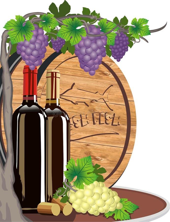 Stillleben mit Wein und Trauben und ein hölzernes Fass für Wein vektor abbildung