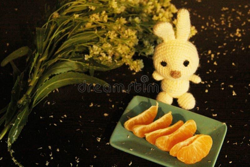 Stillleben: Tangerinen, Blumen und gestricktes weißes Kaninchen lizenzfreies stockfoto