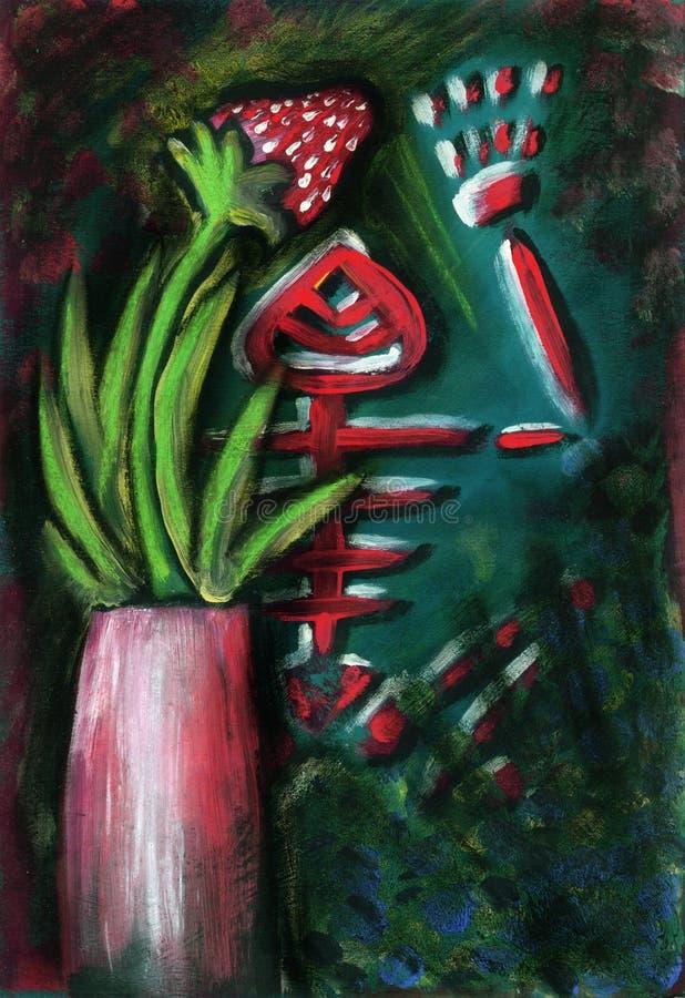 Stilllebenmalerei mit dem Froschskelett und -erdbeere vektor abbildung