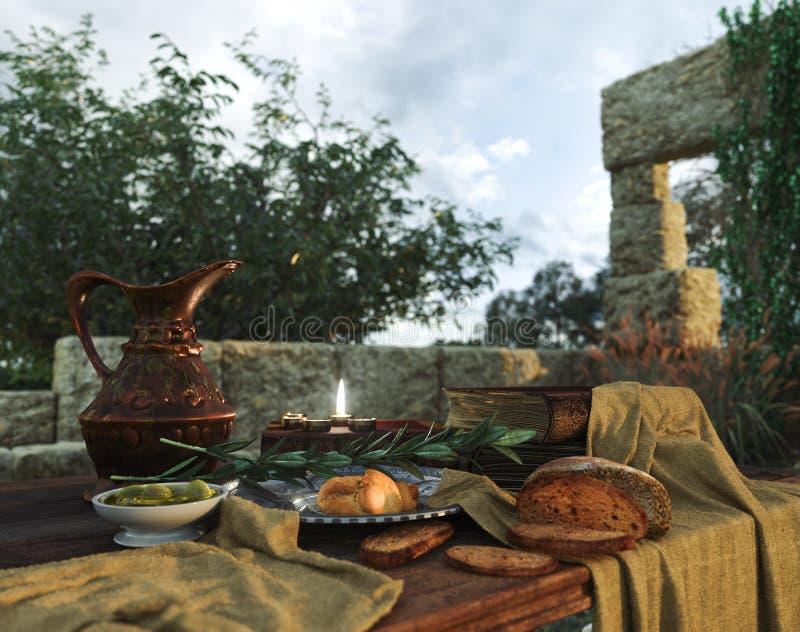 Stilllife με τις αρχαίες καταστροφές, τα βιβλία, την ελιά και τη στάμνα στοκ φωτογραφία