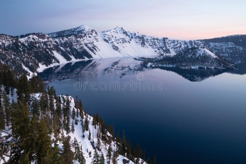 North Rim Winter Sky Sunst Mount Scott Crater Lake Oregon royalty free stock photo
