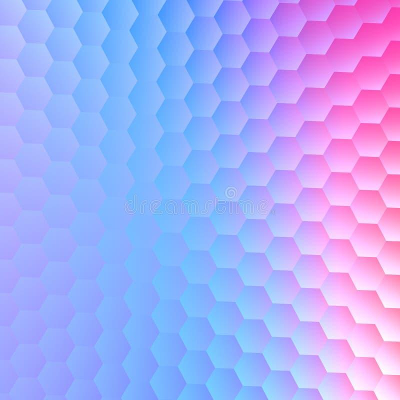 Stillsam sexhörnig blå purpurfärgad bakgrund Abstrakt modellillustrationdesign Utrymmetext för pappers- kort Tom bildräkning royaltyfri illustrationer