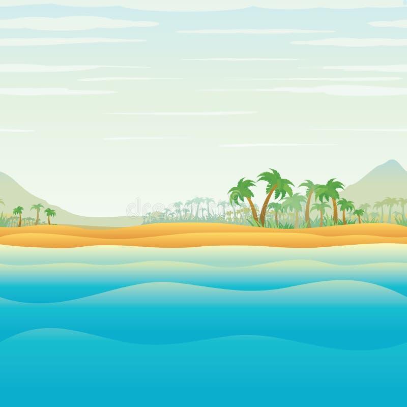 Stillsam tropisk ö i blå havvektor royaltyfri illustrationer