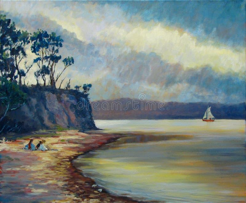 Stillsamt vatten seglar med den annalkande stormen royaltyfri foto