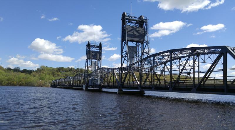 Stillwater bridge over the St. Croix river. Stillwater lift bridge over the St. Croix river in the spring with high water royalty free stock photo