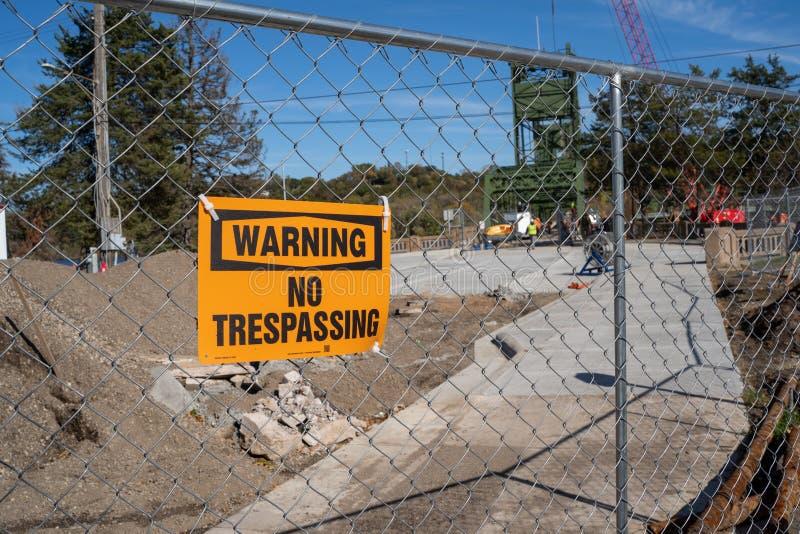 Stillwater, Minnesota - October 14, 2019: No trespassing sign at the Stillwater Lift Bridge construction site stock photo