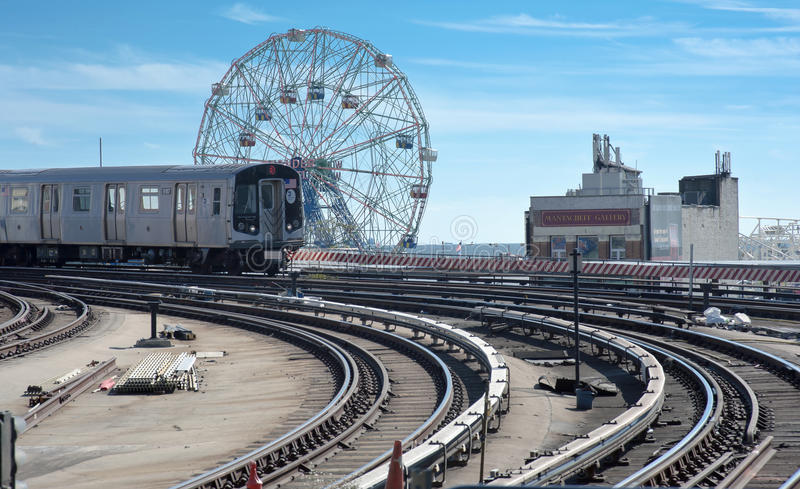 Stillwell-Alleenu-bahnstation in Coney Island stockbild
