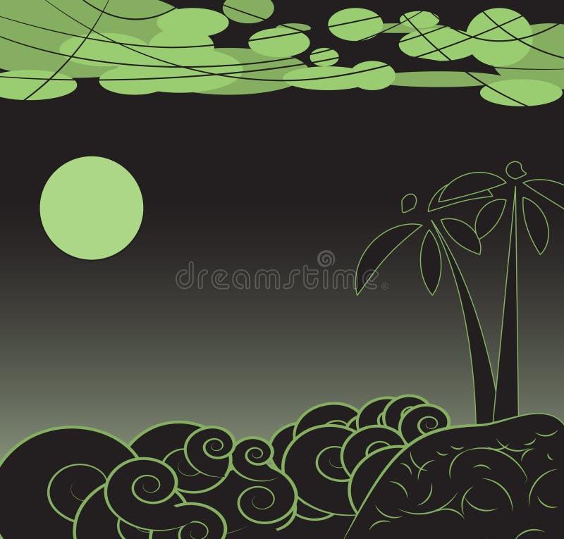 Stilnattlandskap stock illustrationer