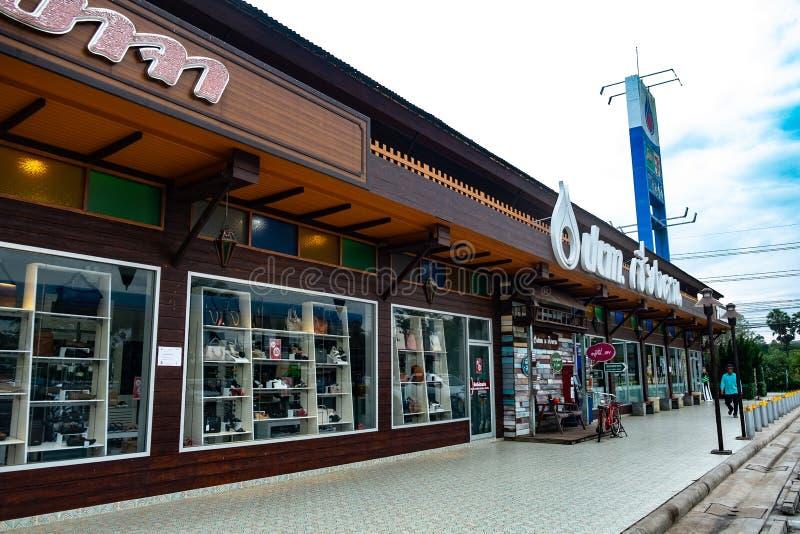 stilservicebutik för tappning 7-Eleven, Chiang Khan, Loei, Thailand - december 8, 2018 arkivfoto