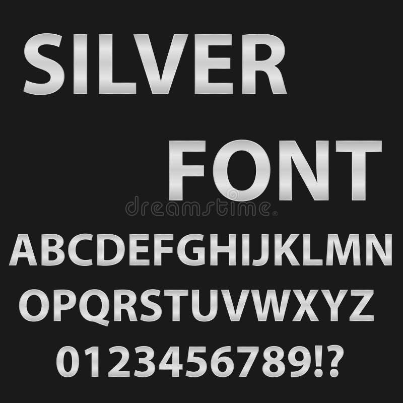 Stilsort av silverfärg Engelskt alfabet i silvriga signaler på en svart bakgrund royaltyfri illustrationer