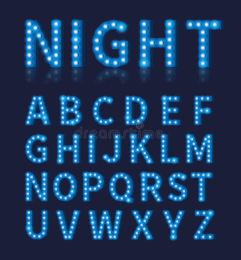 Stilsort eller alfabet för lampa för ljus kula för tappning blå royaltyfri illustrationer