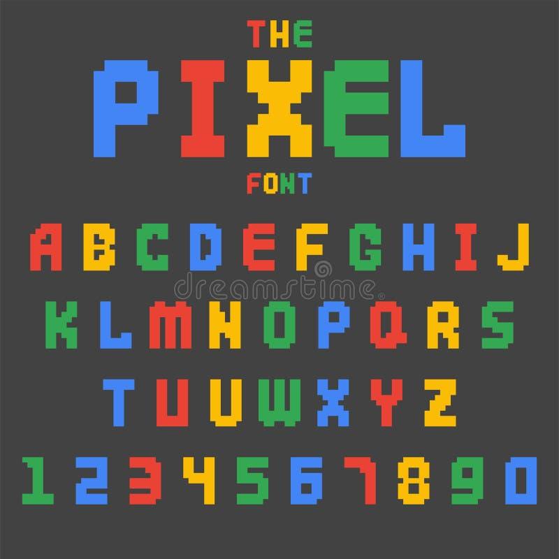 Stilsort för abc för vektor för stil för retro för stilsort för PIXEL videopp för dataspel för design 8 för bit nummer för bokstä royaltyfri illustrationer