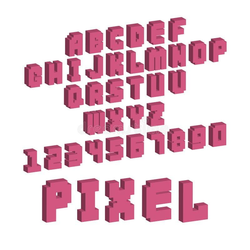 Stilsort för abc för vektor för stil för retro för stilsort för PIXEL videopp för dataspel för design 8 för bit nummer för bokstä vektor illustrationer