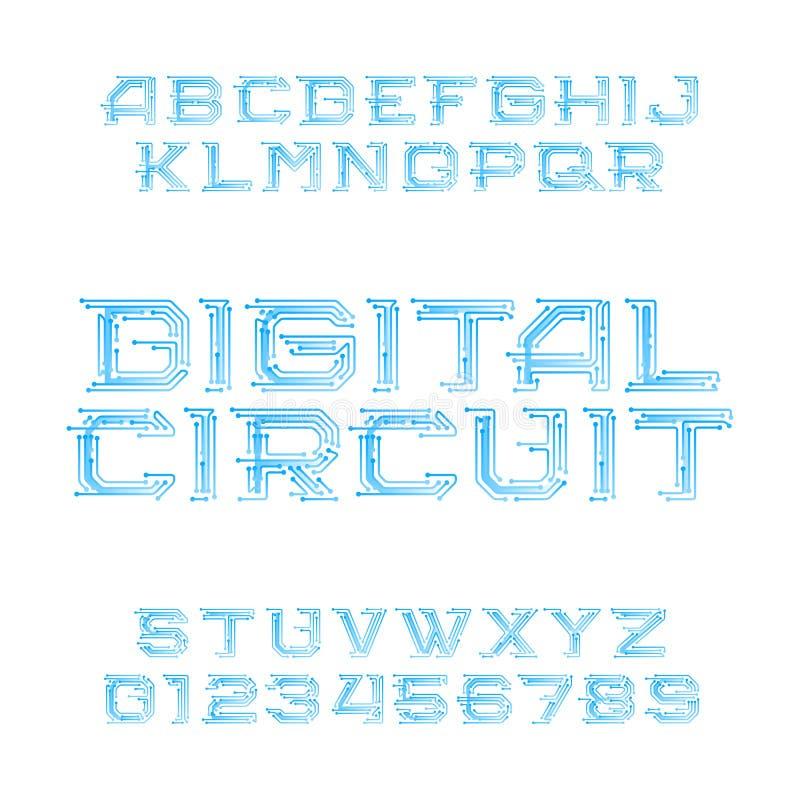 Stilsort för alfabet för bräde för Digital strömkrets Digital högteknologiska stilbokstäver och nummer royaltyfri illustrationer