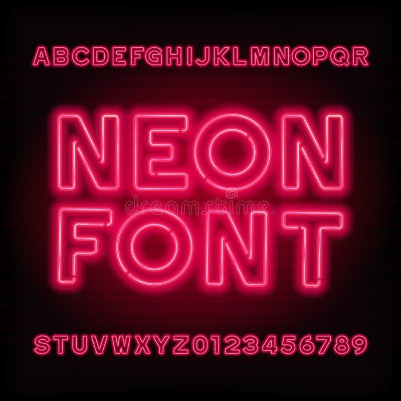 Stilsort för alfabet för neonrör Typ för röd färg märker och nummer royaltyfri illustrationer