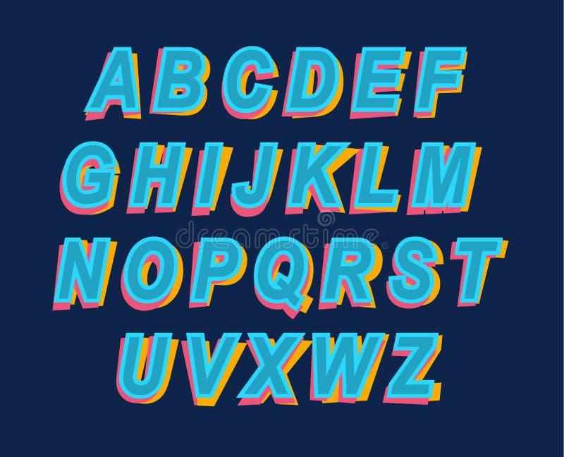 Stilsort för alfabet för tecknad filmstil färgrik för partiinbjudan eller helgdagsafton vektor illustrationer
