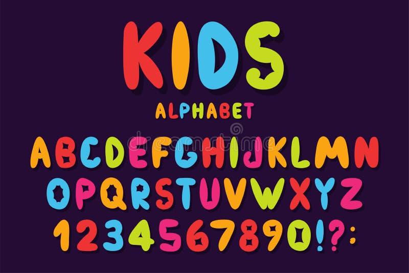 Stilsort för barn` s i tecknad filmstil Färgrikt bubblaalfabet med nummer för leksaker och lekar Den drog skämtsamma handen lurar stock illustrationer