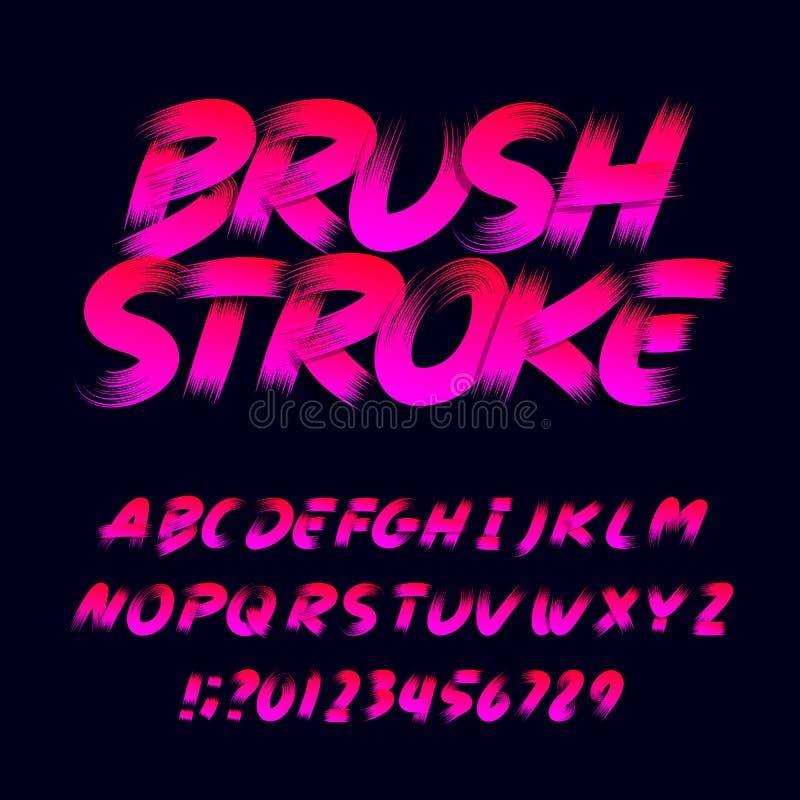 Stilsort för borsteslaglängdalfabet Smutsiga bokstavsnummer och symboler för stora bokstav vektor illustrationer