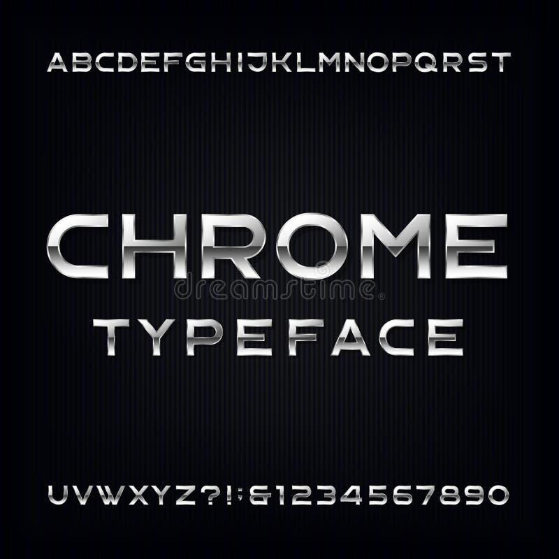 Stilsort för Chrome alfabetvektor Moderna metalliska bokstäver och nummer royaltyfri illustrationer