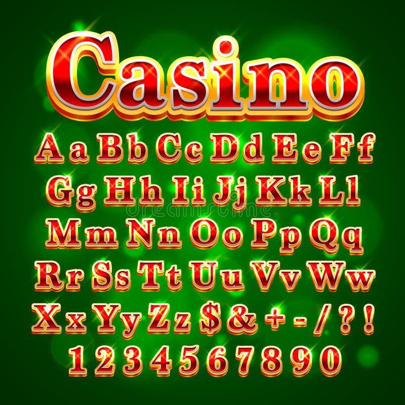 Stilsort för engelskt alfabet för kasino guld- royaltyfri illustrationer