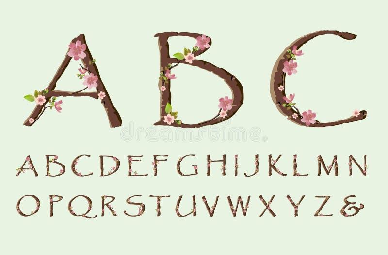 Stilsort för körsbärsröd blomning royaltyfri illustrationer
