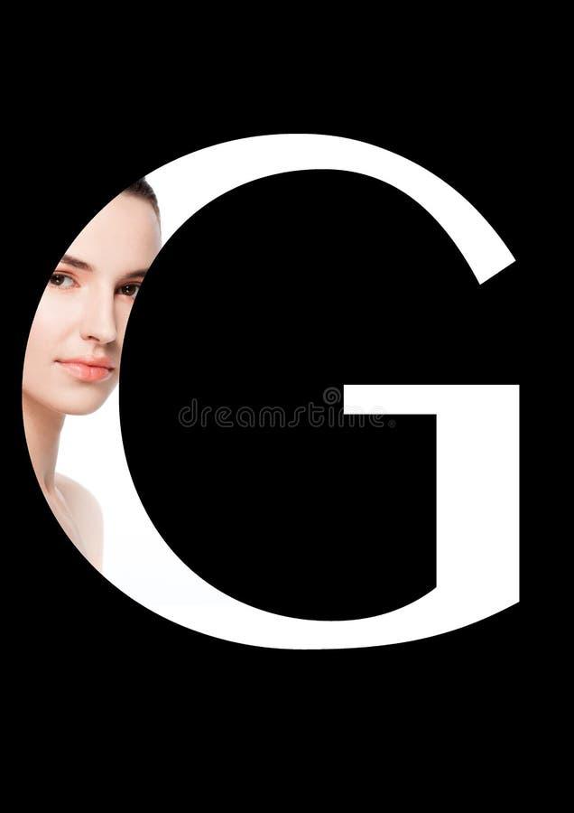 Stilsort för mode för flicka för makeup för G-bokstavsskönhet idérik arkivbild