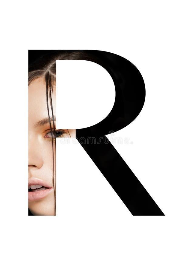 Stilsort för mode för flicka för makeup för r-bokstavsskönhet idérik arkivfoton