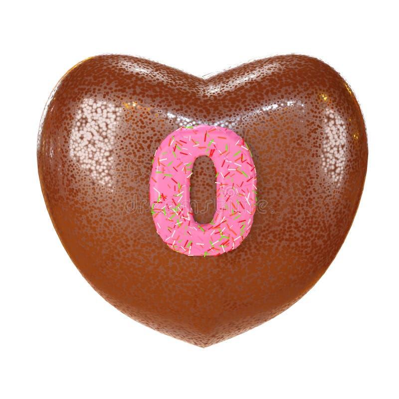 Stilsort för munk för chokladkaka med färgrika stänk Läckert rosa nummer 0 inom chokladhjärtaform illustrationen 3d framför arkivbilder
