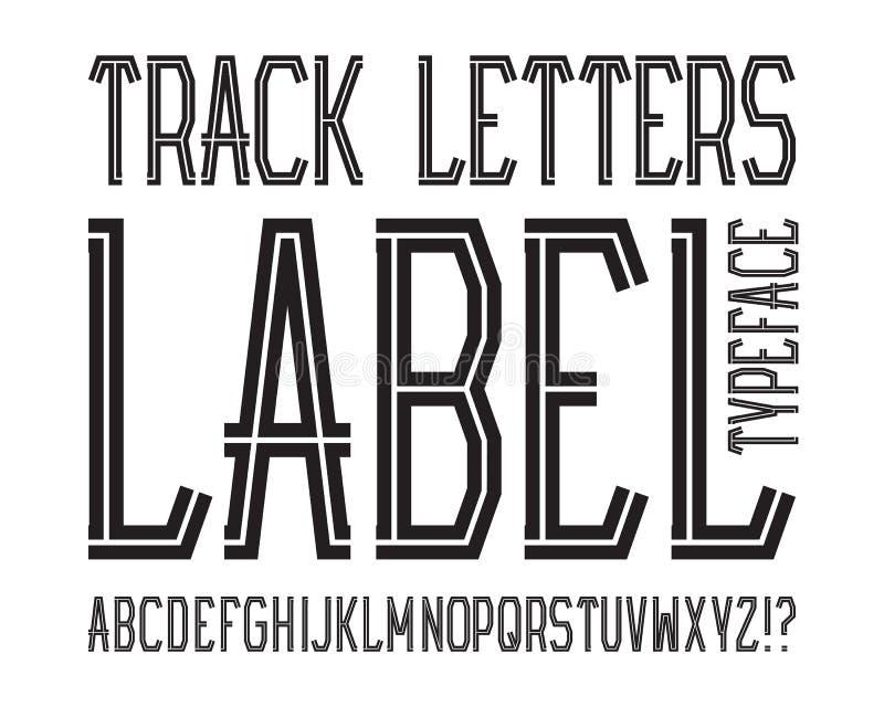 Stilsort för spårbokstavsetikett Randig stilsort för svart Isolerat engelskt alfabet stock illustrationer