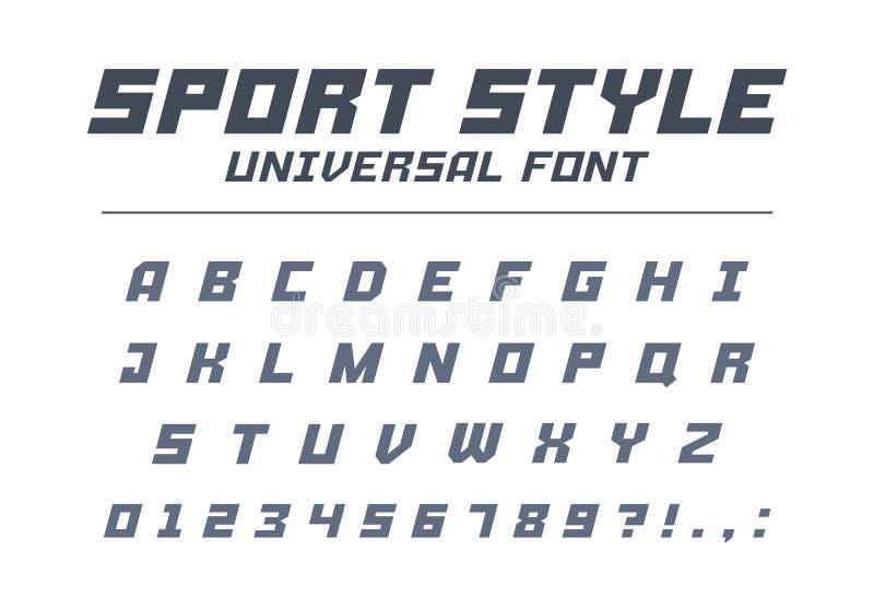 Stilsort för sportstiluniversal Snabb hastighet som är futuristisk, teknologi, framtida alfabet vektor illustrationer