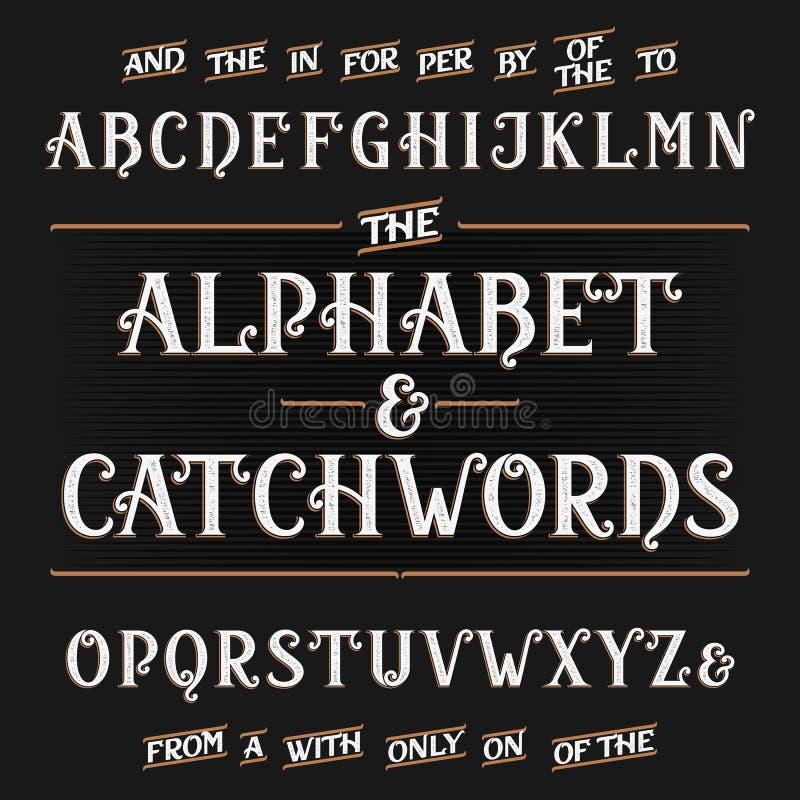 Stilsort för tappningalfabetvektor med slagordar Utsmyckade bokstäver och slagordar vektor illustrationer