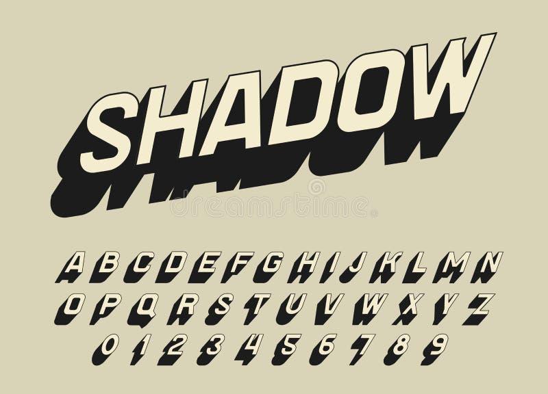 Stilsort för tappningpopkonst för affischer Komiskt retro modigt alfabet Futuristisk 80-talstilsort, redigerbart och varvat vekto royaltyfri illustrationer