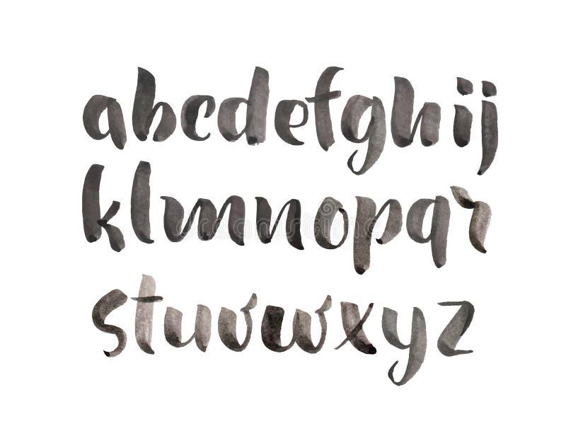 Stilsort för vattenfärg för alfabet för hand för vektorborstestil utdragen Beställnings- typografi för kalligrafi för designlogo  royaltyfri illustrationer
