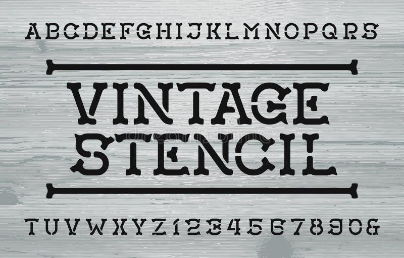 Stilsort f?r tappningstencilalfabet Retro bokstäver och nummer Bekymrad Wood bakgrund royaltyfri illustrationer