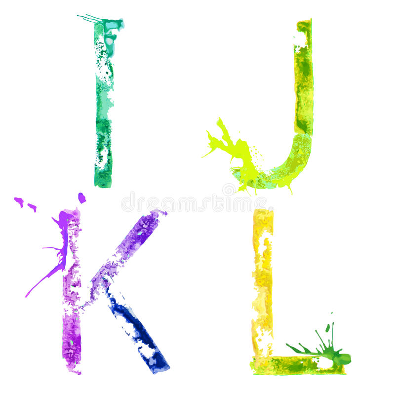 Stilsort I, J, K, L för vektormålarfärgfärgstänk stock illustrationer