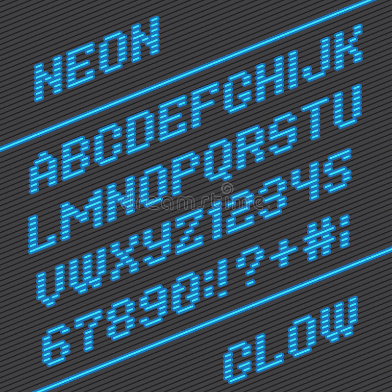 Stilsort och nummer från neonband vektor illustrationer