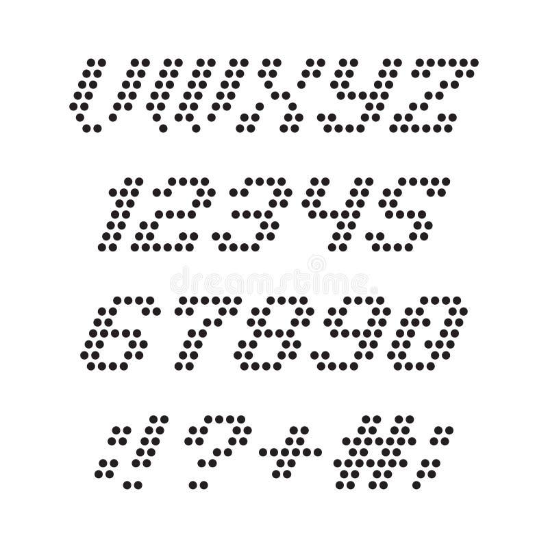 Stilsort och nummer från prickar vektor illustrationer