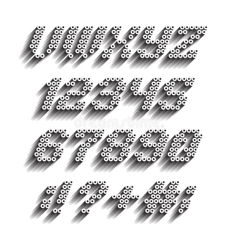 Stilsort och nummer från röret vektor illustrationer