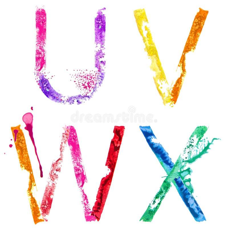 Stilsort U, V, W, X för vektormålarfärgfärgstänk stock illustrationer